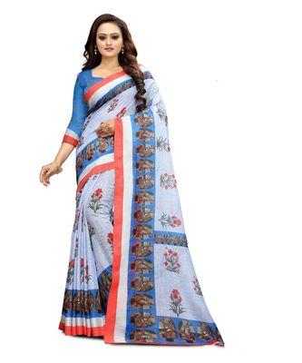 Women   s multicolor Pure linen Printed Designer Saree