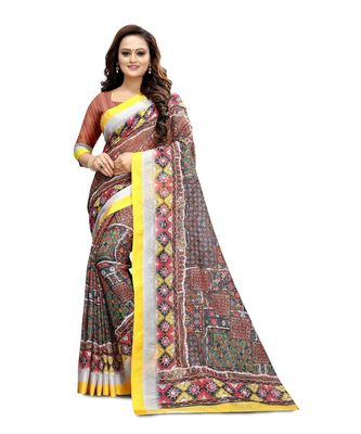 Women's multicolor Pure linen Printed Designer Saree