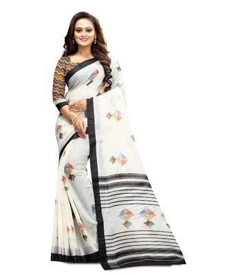 Women's white Pure linen Printed Designer Saree