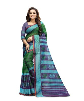 Women's green Pure linen Printed Designer Saree