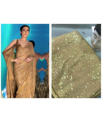 beige sequins Sana Silk Partywear bollywood saree with blouse