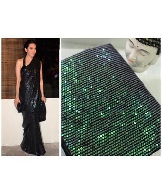 black sequins Sana Silk Partywear bollywood saree with blouse
