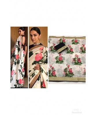 tomato Digital printed chanderi silk partywear bollywood saree with  blouse