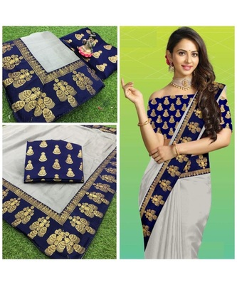 grey Chanderi silk Partywear Bollywood saree with blouse