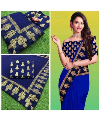 blue Chanderi silk Partywear Bollywood saree with blouse