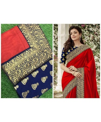 red Chanderi Silk Partywear Bollywood Saree with blouse