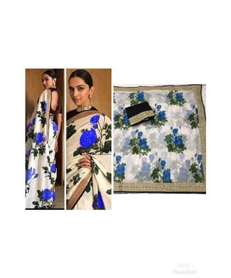 royal blue Digital printed chanderi silk partywear bollywood saree with  blouse