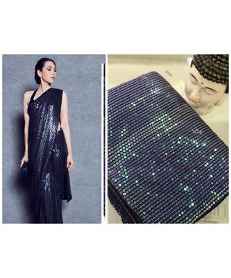 navyblue sequins Sana Silk Partywear bollywood saree with blouse