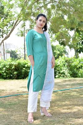 Green Stylish Women 3 Piece Rayon heavy Gotta patti work kurta Palazzo Set With  heavy Designer Duppata