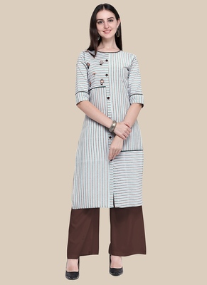 Multicolor Embroidered Cotton Blend Stitched Straight Palazoo Kurta sets