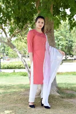Pink Stylish Women 3 Piece Rayon heavy Gotta patti work kurta Palazzo Set With  heavy Designer Duppata