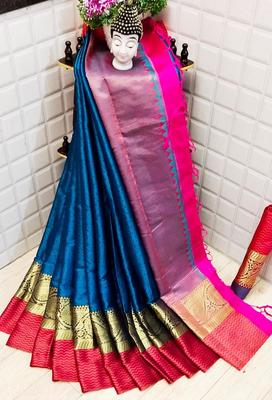 WOMENS  DESIGNER BLUE BANARASI SILK  SAREE WITH DESIGNER  BLOUSE