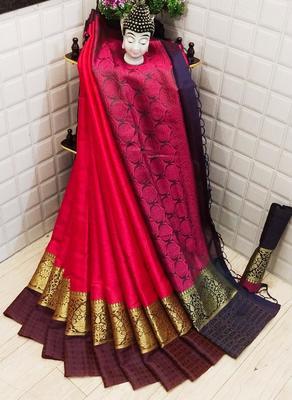 Womens  Designer Red Banarasi Silk  Saree With Designer  Blouse