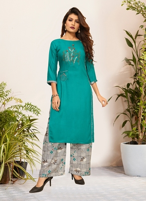 Green Viscose Embroidered Stitched Straight Palazoo Kurta sets