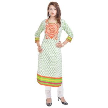 White embroidered cotton ethnic-kurtis
