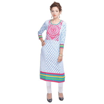White embroidered cotton ethnic-kurtis