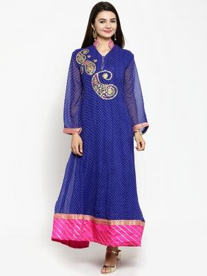 Blue embroidered georgette ethnic-kurtis