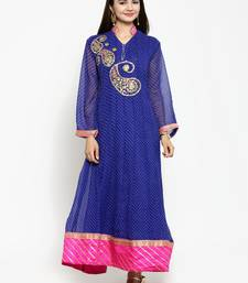 Blue embroidered georgette ethnic-kurtis