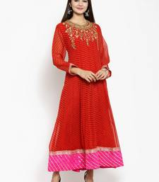 Red embroidered georgette ethnic-kurtis