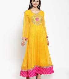 Yellow embroidered georgette ethnic-kurtis