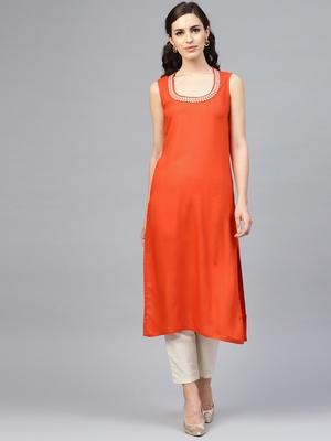 Solid Orange Sleeveless Straight Rayon Kurta