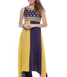 Yellow embroidered cotton ethnic-kurtis