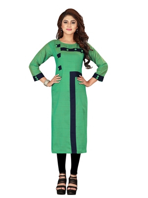 Green plain art silk ethnic-kurtis