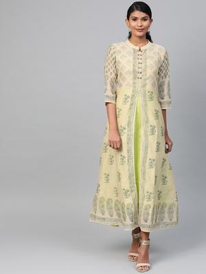 Lime printed polyester long-kurtis