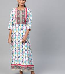 White printed liva long-kurtis