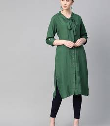 Dark-green plain liva ethnic-kurtis