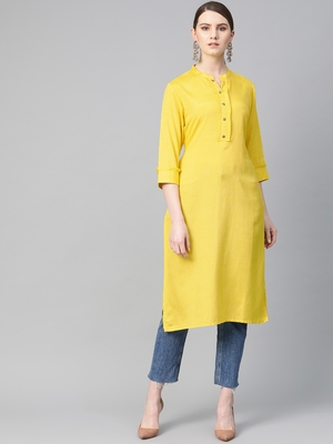 Yellow plain liva ethnic-kurtis