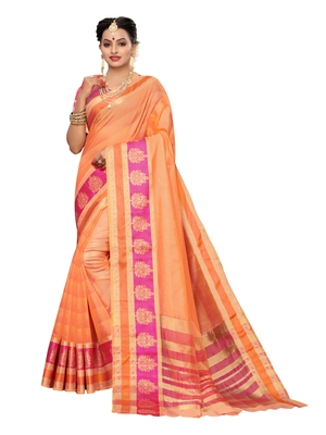 Peach woven cotton silk saree with blouse