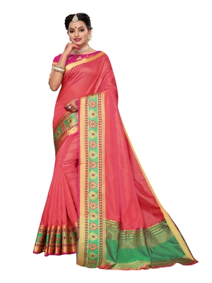 Peach woven tussar silk saree with blouse