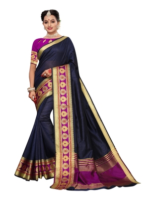 Navy blue woven tussar silk saree with blouse