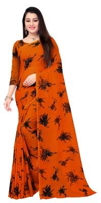 Dark orange printed georgette saree with blouse