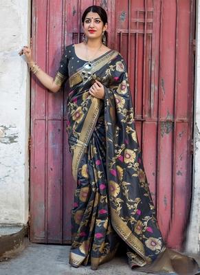 Dark grey woven banarasi silk saree with blouse