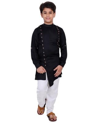 Black plain cotton silk boys-kurta-pyjama