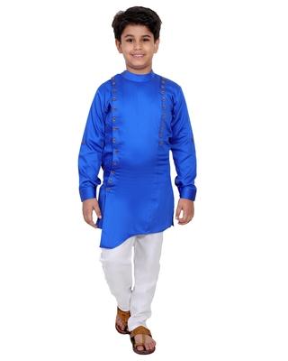 Blue plain cotton silk boys-kurta-pyjama