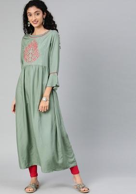 Sea-green embroidered rayon embroidered-kurtis