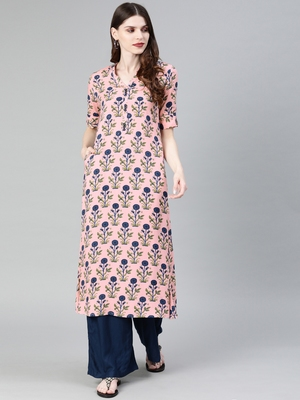 Baby-pink printed rayon party-wear-kurtis
