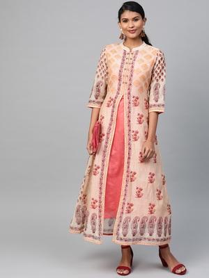 Beige printed polyester long-kurtis