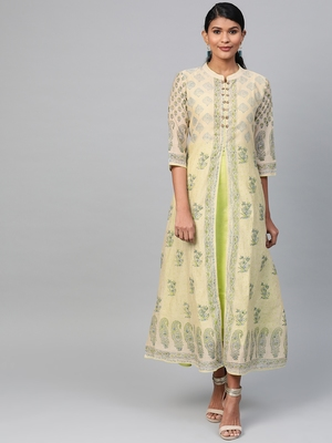 Lime printed polyester long-kurtis