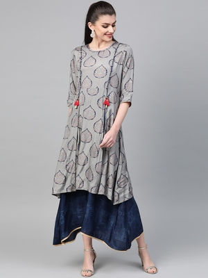 Grey printed liva long-kurtis