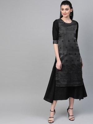 Black printed viscose long-kurtis