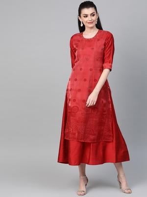 Red printed viscose long-kurtis