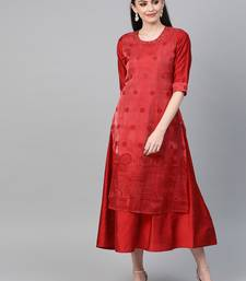 Red printed viscose long-kurtis