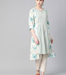 Sky-blue printed cotton ethnic-kurtis