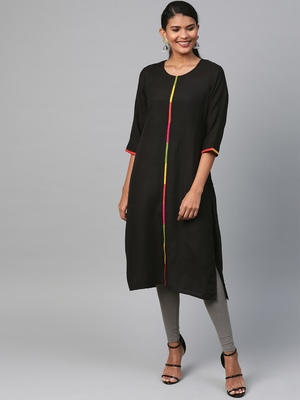 Black plain liva ethnic-kurtis