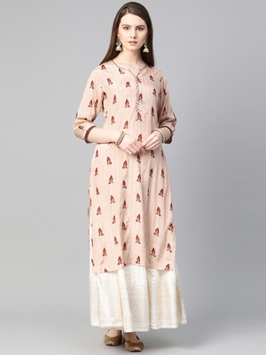Light-peach printed liva ethnic-kurtis