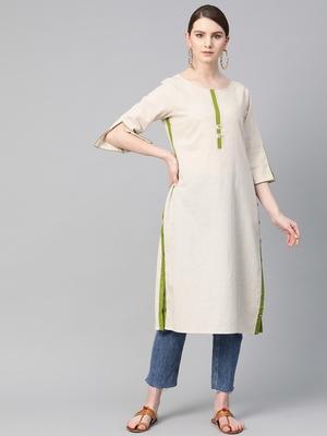 White plain cotton ethnic-kurtis